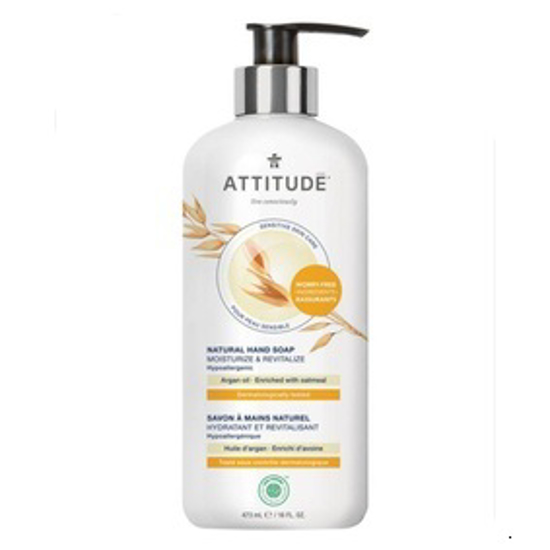 صورة ATTITUDE SENSITIVE SKIN, MOISTURIZE & REVITALIZE HAND SOAP, ARGAN OIL 16 FLUID OUNCE