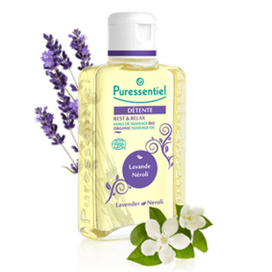 Picture of PURESSENTIEL REST & RELAX ORGANIC MASSAGE OIL LAVENDER 100 ML