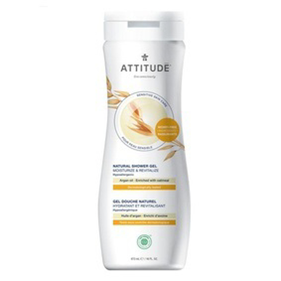 صورة ATTITUDE SENSITIVE SKIN, HYPOALLERGENIC MOISTURIZE SHOWER GEL, ARGAN OIL, 16 FLUID OUNCE