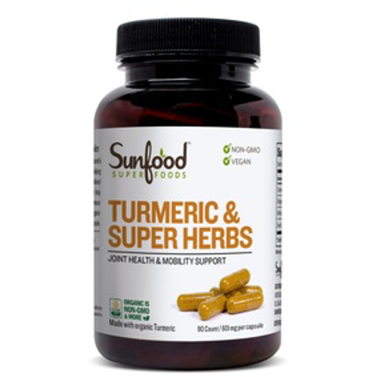 Picture of SUNFOOD SUPERFOODS TURMERIC & SUPER HERBS CAPSULES, 601MG | 90CT