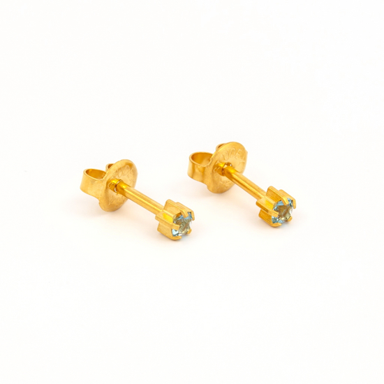 صورة Studex® Select™ 24ct Gold Plated Crystals Tiffany Mar Aquamarine Regular: PR-R103Y-STX