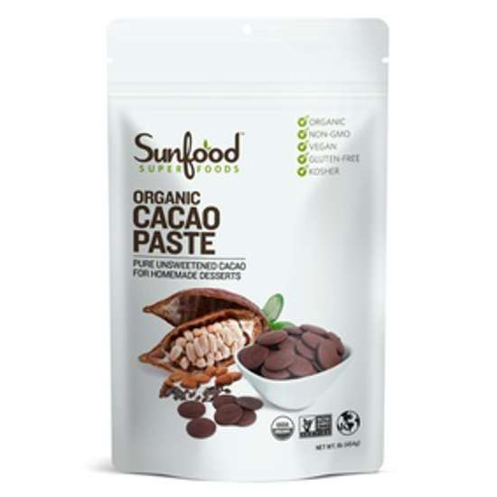Picture of SUNFOOD SUPERFOODS CACAO PASTE, 1LB, ORGANIC