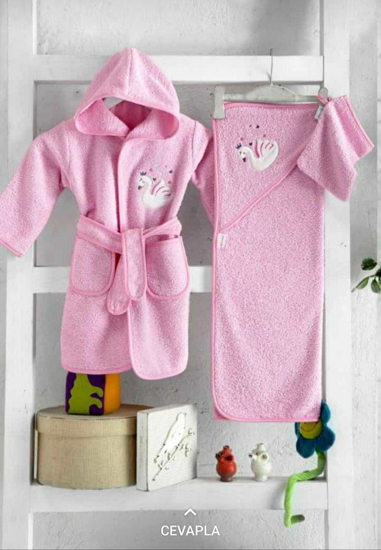 Picture of Pink Baby Bath Towels Set